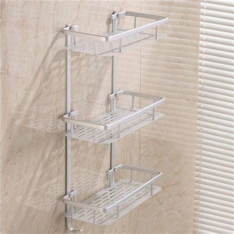 bathroom shelves space alumimum  tier home kitchen