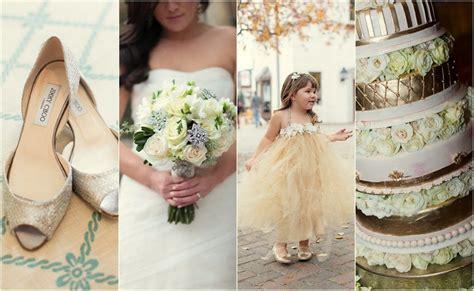Glamorous Gold, Green & White Wedding