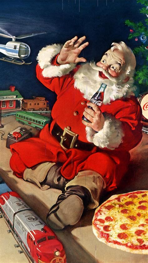 coca cola santa claus pizza toys android wallpaper