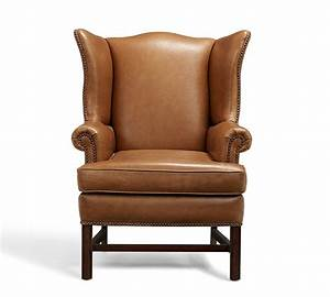 Thatcher leather wingback chair pottery barn for Chair back covers for leather chairs
