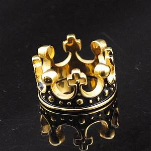 2016 hot 18k gold plated stainless steel ring crown king With men s crown wedding ring