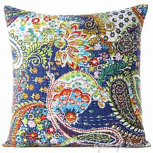16quot blue kantha decorative throw sofa cushion couch pillow With bohemian pillows and throws