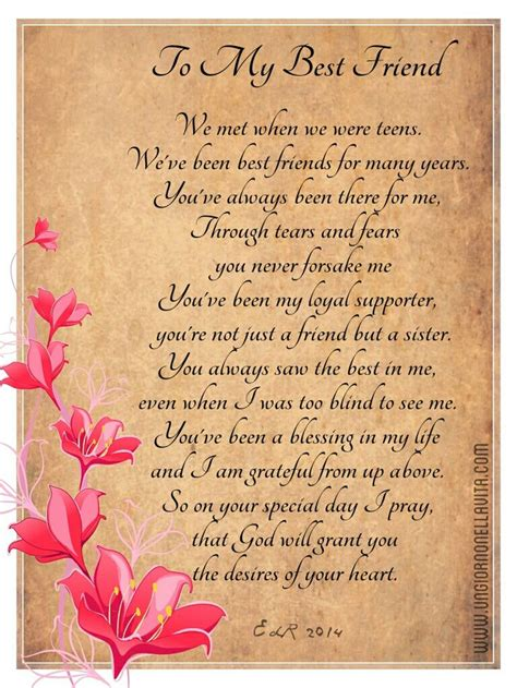 Best Wishes To A Friend Birthday Poems For Best Friends Happy Birthday To My