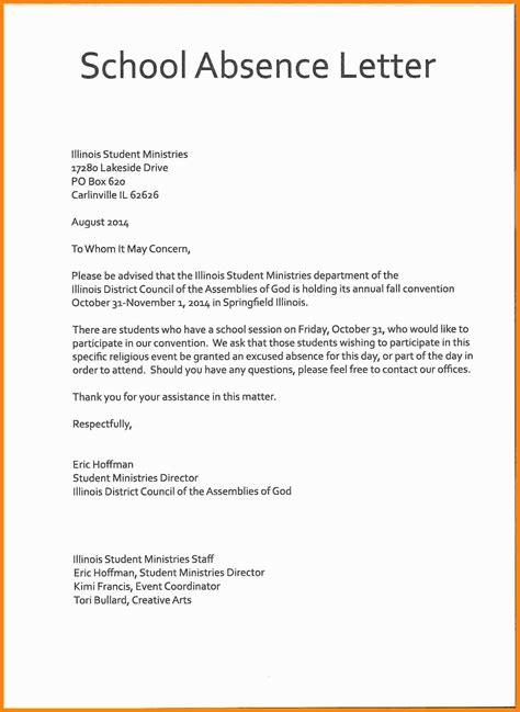 sample  excuse letter  school medforddelicom