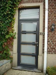 porte dentree en pvc structure gris ral 7016 double With porte d entrée pvc avec double vitrage