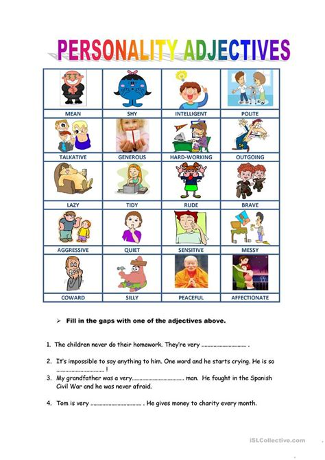 personality descriptions english esl worksheets