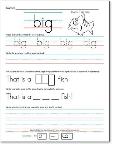 kindergarten pre primer sight word sentences