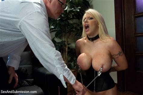 Busty Blonde Slave Candy Manson In Tight Corset Gets Her