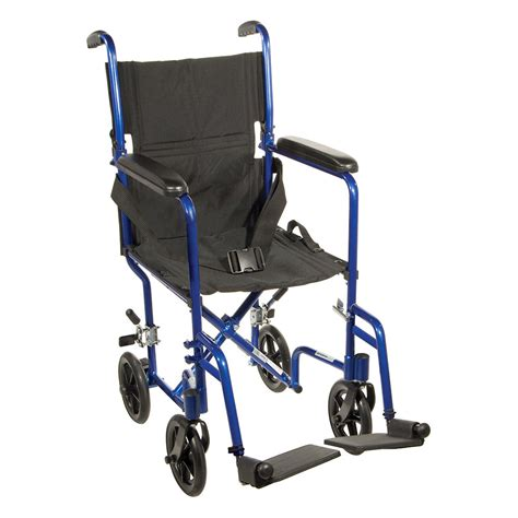 fly lite ultra lightweight blue transport wheelchair dfl19