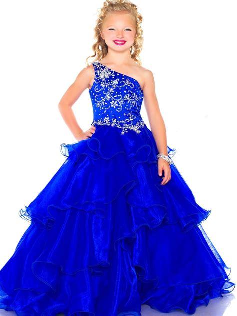 sz instock royal blue  shoulder flower girl dress