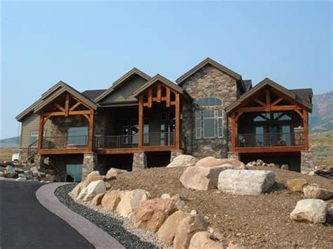 great single story mountain style house plan   total square feet
