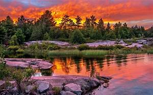 lake sunset clouds trees stones wallpapers13