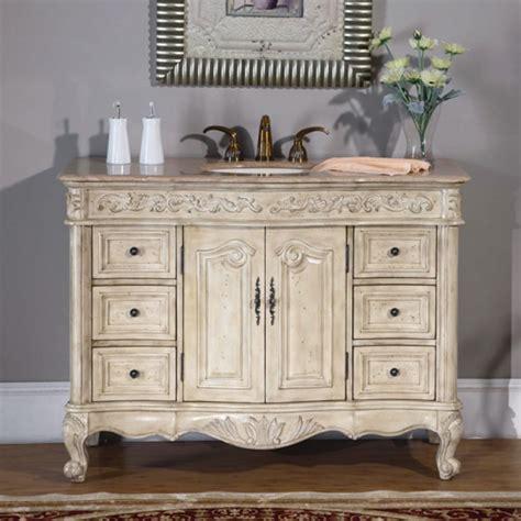single sink vanity  antique white finish