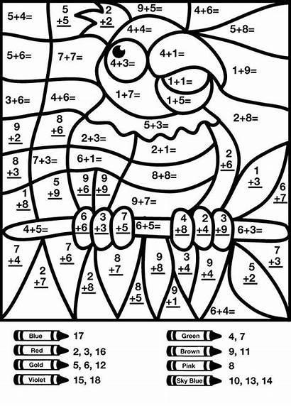 Coloring Number Addition Math Pages Worksheets Multiplication