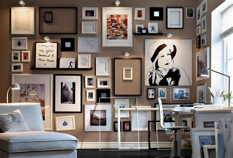 home interior picture frames gallery art wall monochrome framed collection of sketches and art living modern interior