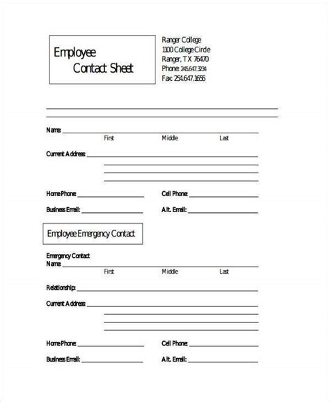 employee sheet templates   word  excel