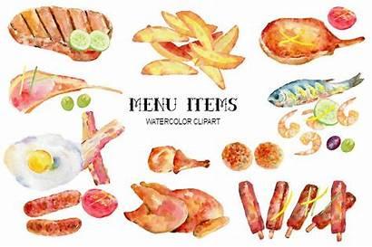 Watercolor Items Meat Clipart Menu Egg Restaurant