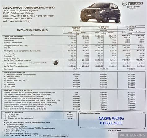 new mazda price list mazda cx 5 gl launched new base variant at rm126k image