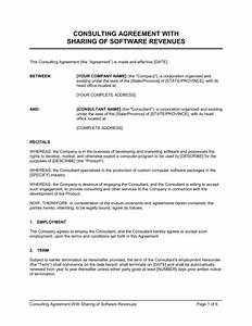 Consulting agreement with sharing of software revenues for Consultation agreement template