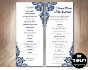 wedding program fans diy navy blue wedding program template instant