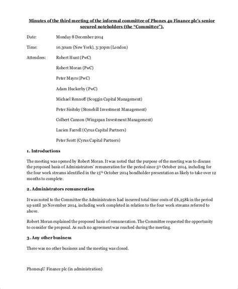 informal minutes template   word  documents