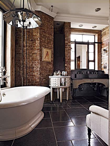 contemporary exposed brick wall bathrooms