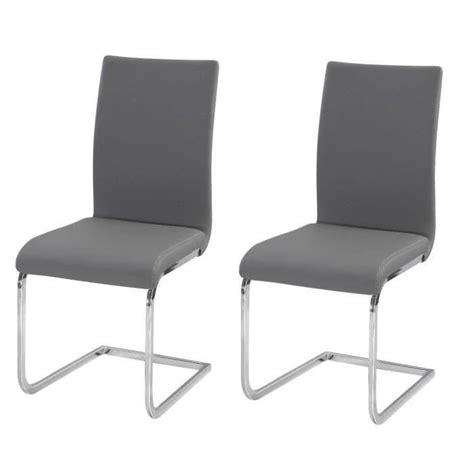 chaise de cuisine grise lea lot de 2 chaises de salle à manger gris achat vente chaise polyuréthane métal cdiscount