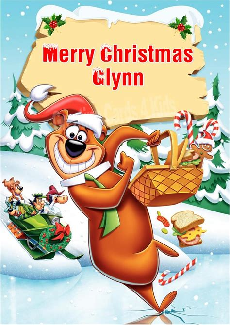 personalised yogi bear christmas card
