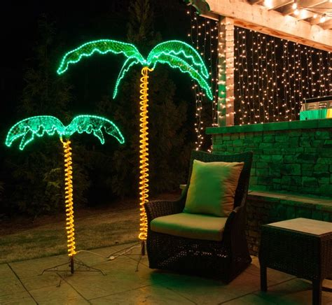 rope light palm trees tropical christmas trees