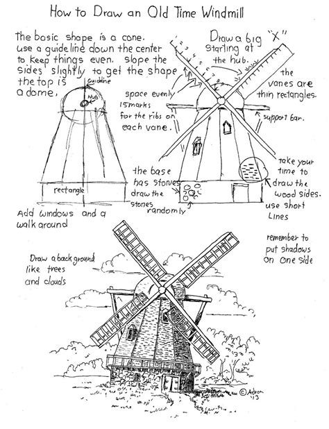 How To Draw A Windmill Worksheet How To Draw Worksheets