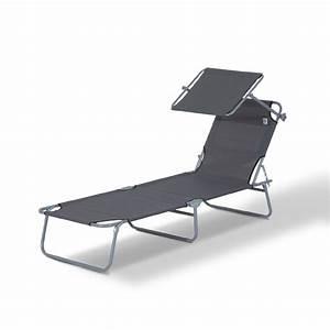Bain De Soleil Pliable : outsunny chaise longue pliante transat bain de soleil pliable position r glable avec pare soleil ~ Teatrodelosmanantiales.com Idées de Décoration
