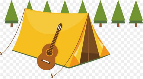 camping summer camp tent illustration violin decoration