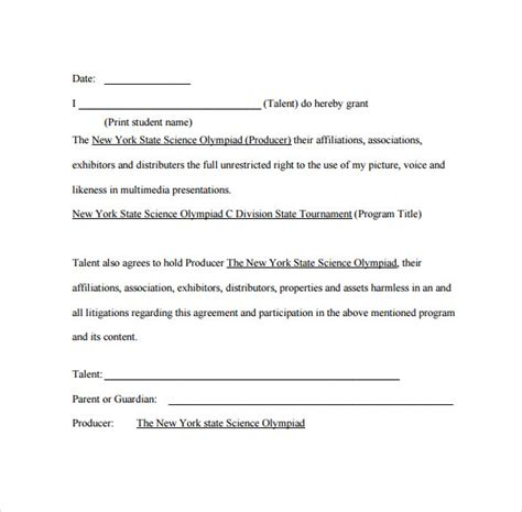 free talent release form 9 talent release forms sles exles formats