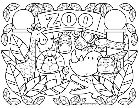 zoo coloring pages printable   stephen joseph