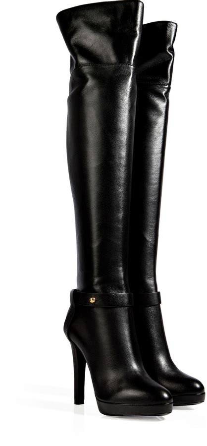 Over The Knee Boots Black Leather  Boot Ri