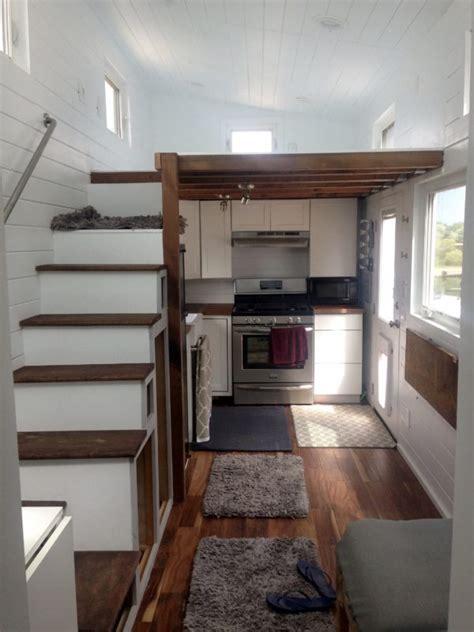 tiny house  lofts rooftop deck  tiled shower skylight modern kitchen  cottage