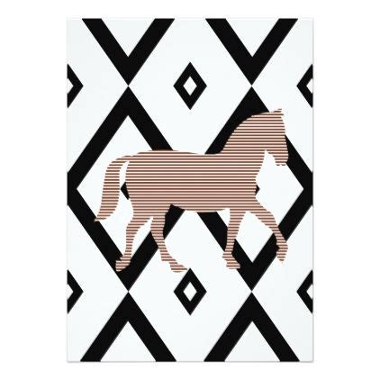brown horse abstract geometric pattern black card