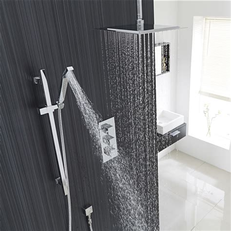 "12"" Chrome Finish Ceiling Mount Square Rain Shower System"