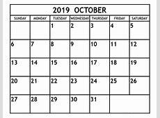 October 2019 Calendar Printable 2019 Monthly Calendar