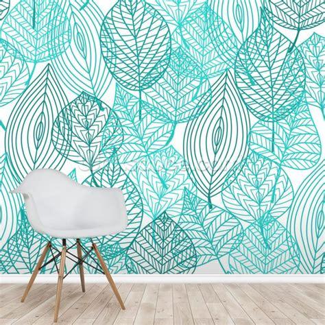 turquoise blue autumn leaves wallpaper mural wallsauce au