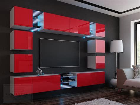 Livitalia design wohnwand c54 in braun matt mit tv wand paneel mit schwenkbarer tv halterung und led hintergrund beleuchtung. KAUFEXPERT - Wohnwand Edge Rot Hochglanz/Weiß Mediawand ...