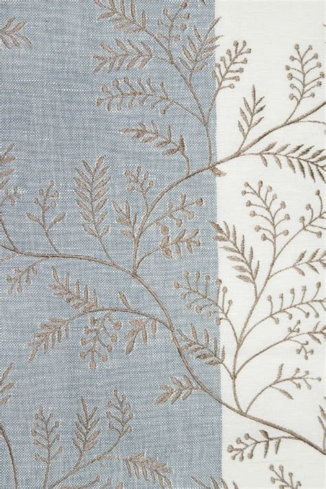 dixie fern linen fabric wide striped white and blue linen