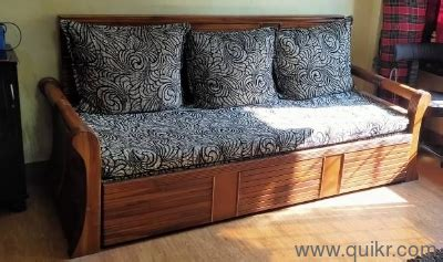 Beautifully crafted antique wooden sofa available at extremely low prices. 3 Seater Teak Wood Sofa cum Bed - Gently Home - Office ...