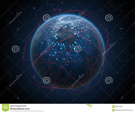 Planet With Illuminated Network And Light Trails Stock