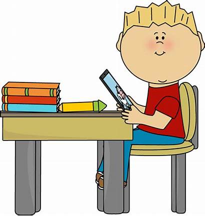 Clip Desk Table Clipart Tablet Clipartpanda Boy