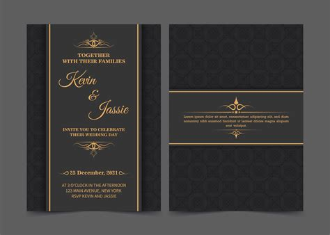 Black and Gold Wedding Invitation Template Download Free