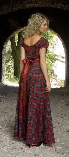 rose tartan plaid evening dress scottish  dress
