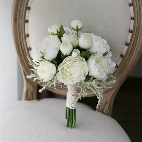 nice artificial white peony flowers bridal wedding bouquet