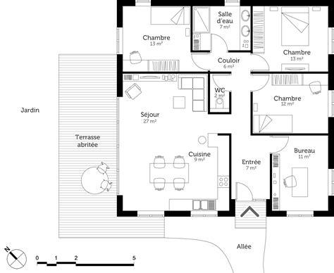 plan 3 chambres plan maison moderne avec 3 chambres ooreka