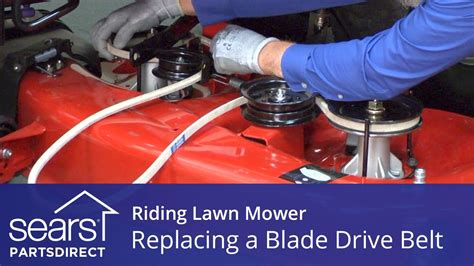 replacing  blade drive belt   riding lawn mower youtube